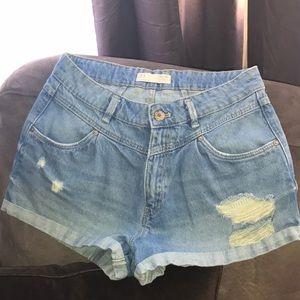 Zara Distressed Blue Jean Shorts
